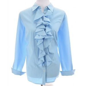 Ralph Lauren Ruffled Button Up Shirt Plus Sz 1X